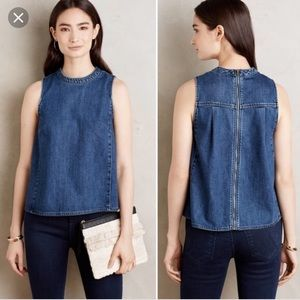 Anthropologie holding horses denim shell tank